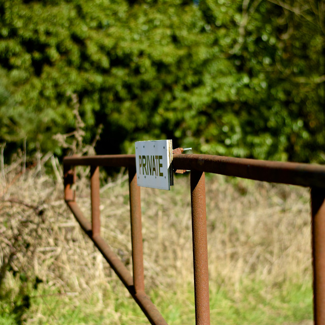 """""""Private. Rusty gate with private sign"""" stock image"""