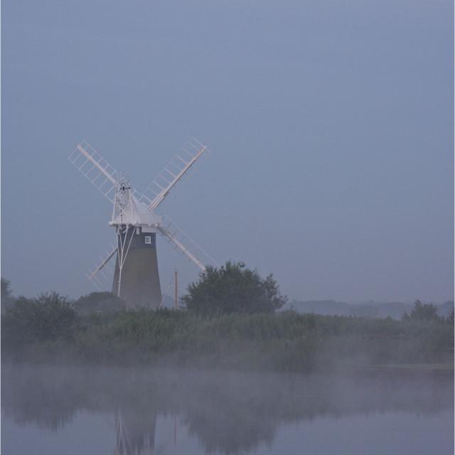"""Misty Mill- St Bennets wind pump"" stock image"