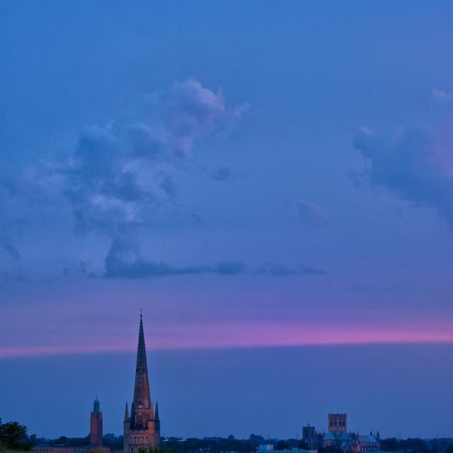"""norwich glow. Evening Norwich skyline in portrait"" stock image"