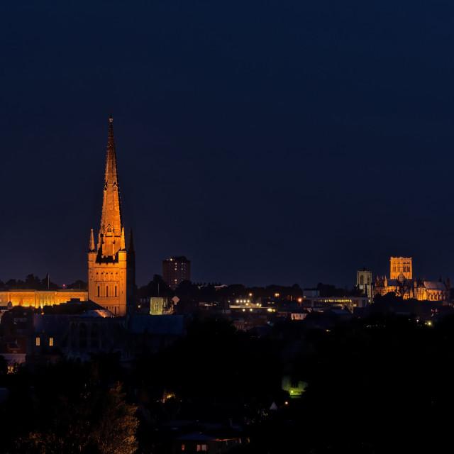 """Night Norwich. Norwich skyline at night"" stock image"