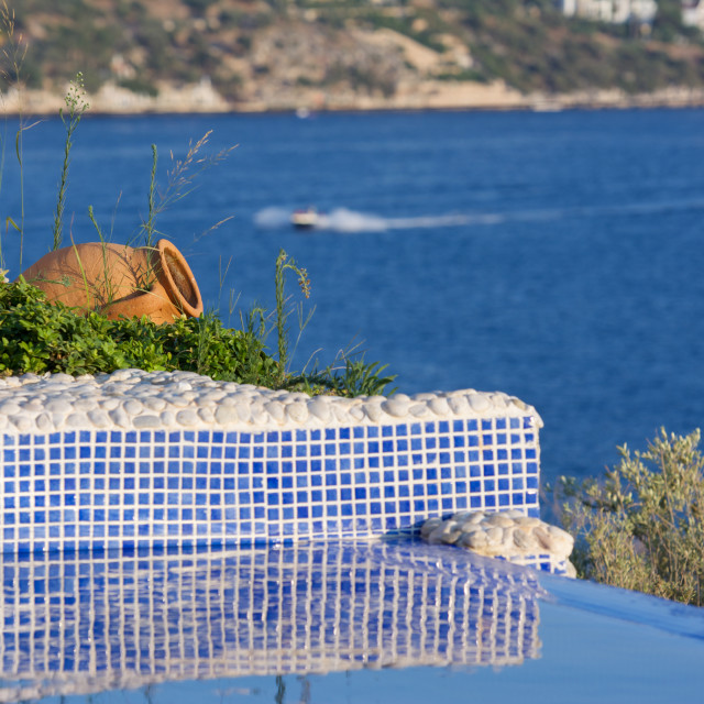 """Amphora pool. swimming pool across the mediterranean shot."" stock image"