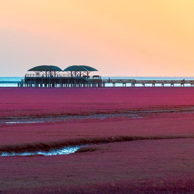 """Red Beach sunset"" stock image"
