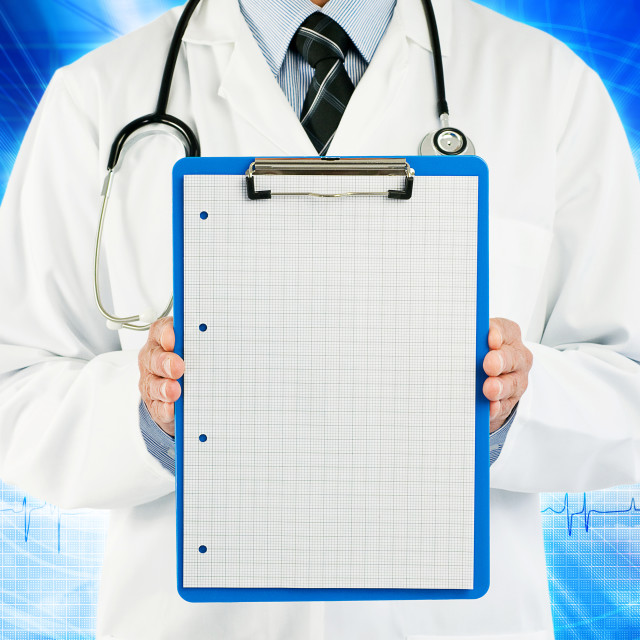 """physician holding graph paper"" stock image"