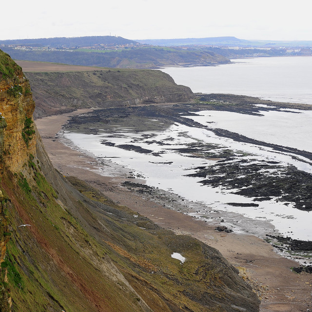 """Cliffs near filey"" stock image"