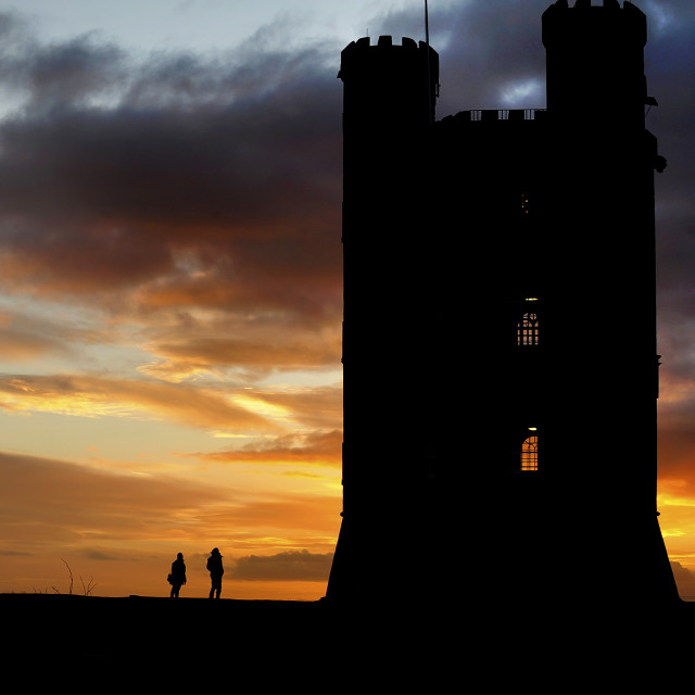 """Broadway Tower in Worcestershire Silhouetted in the Evening Suns"" stock image"