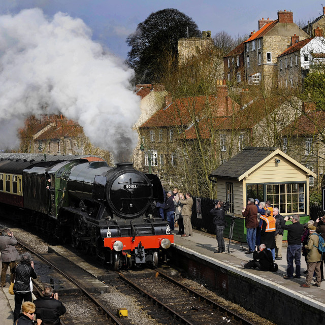 """Flying Scotsman arrives in Pickering"" stock image"