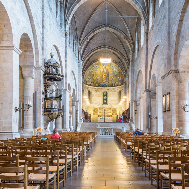 """Interior of Lund Cathedral, towards the apse and high altar"" stock image"
