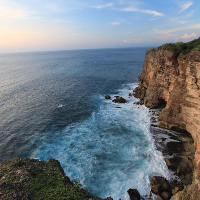 """view of the cliff at uluwatu bali indoensia"" stock image"