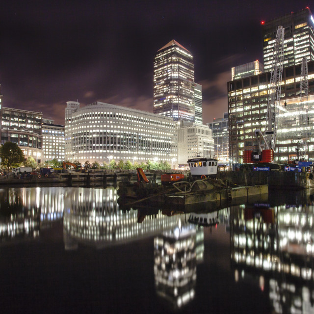 """Canary Wharf reflections at night"" stock image"