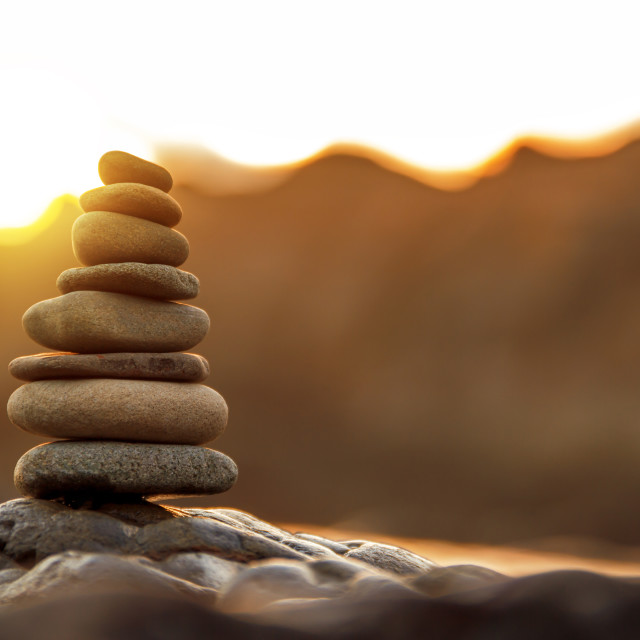 """stone balance in sunrise"" stock image"