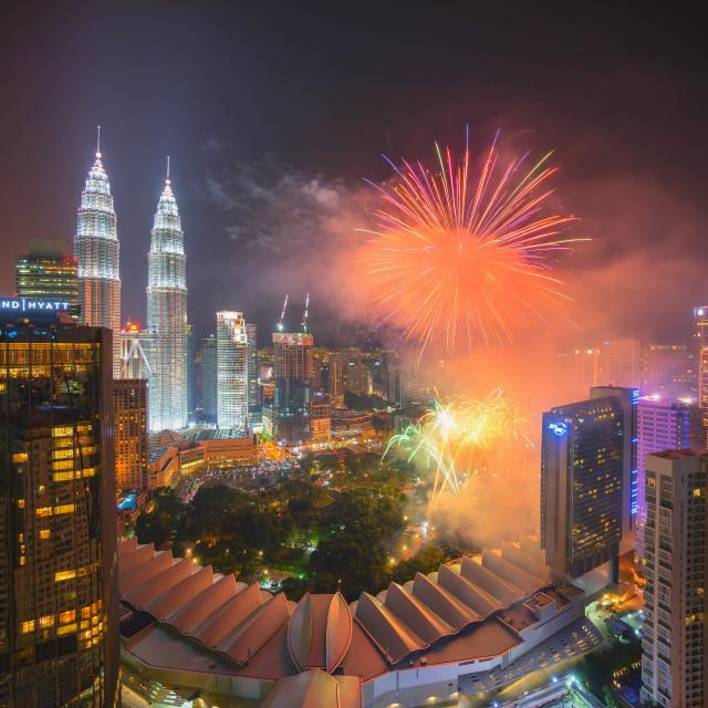 """Fireworks at Kuala Lumpur City Centre"" stock image"
