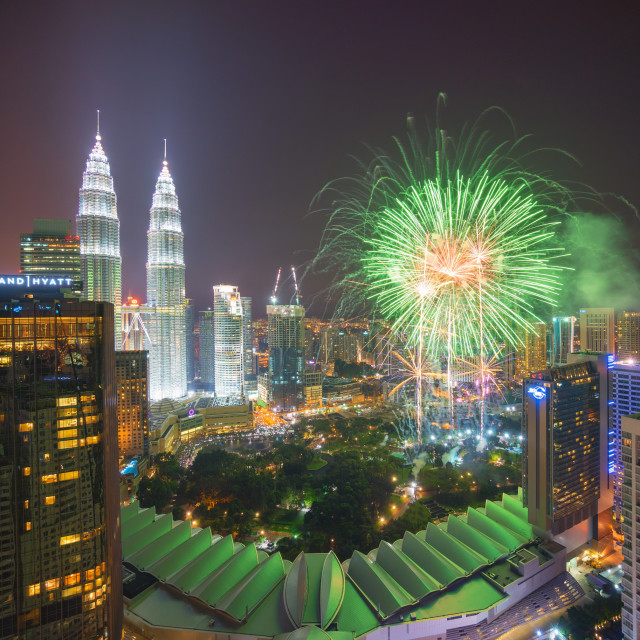 """Fireworks at Kuala Lumpur City Centre"" stock image"