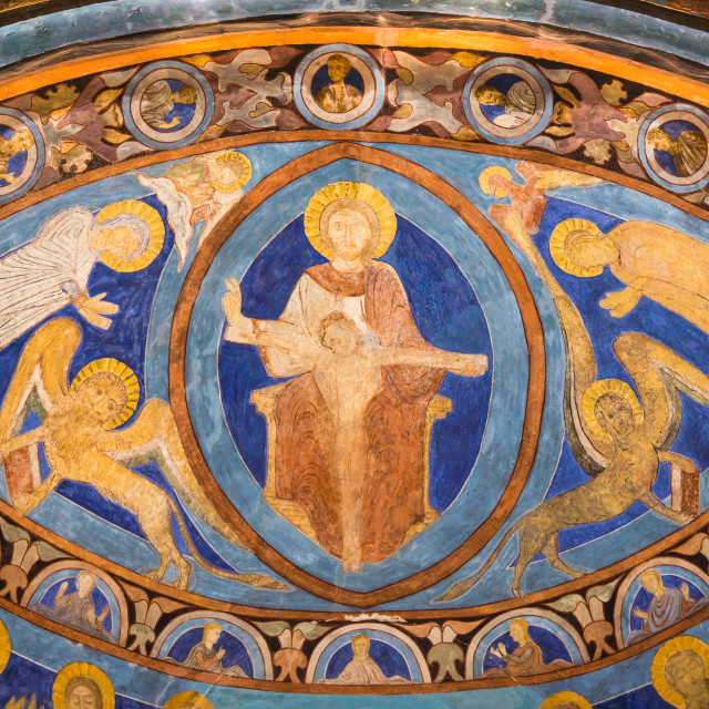 """""""Romanesque fresco from the 1200s in bright ultramarine color."""" stock image"""