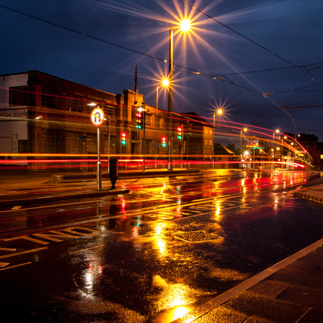 """Rainy Night And Traffic Trails"" stock image"