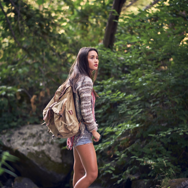 """Young Woman Hiking Barefoot"" stock image"