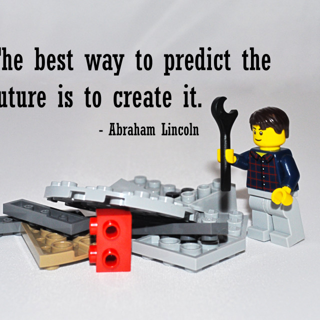 """""The best way to predict the future is to create it."""" stock image"
