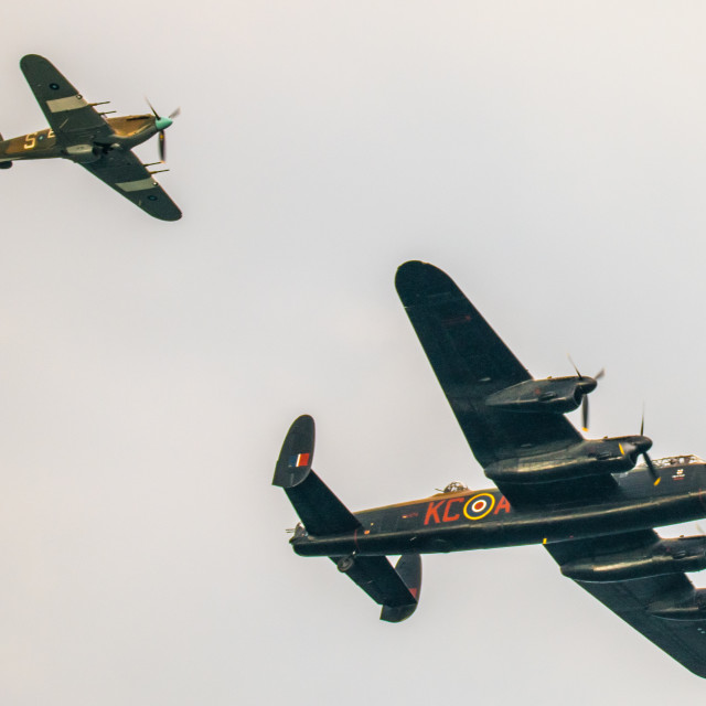 """Hurricane and Lancaster Bomber"" stock image"