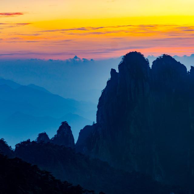 """Huangshan Sunset"" stock image"
