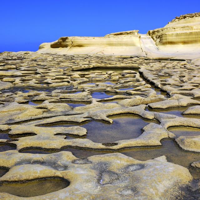 """Ancient Salt Pans Marsalforn, Gozo"" stock image"