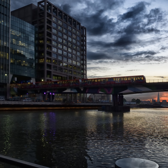 """View from Canada Square at sunset"" stock image"