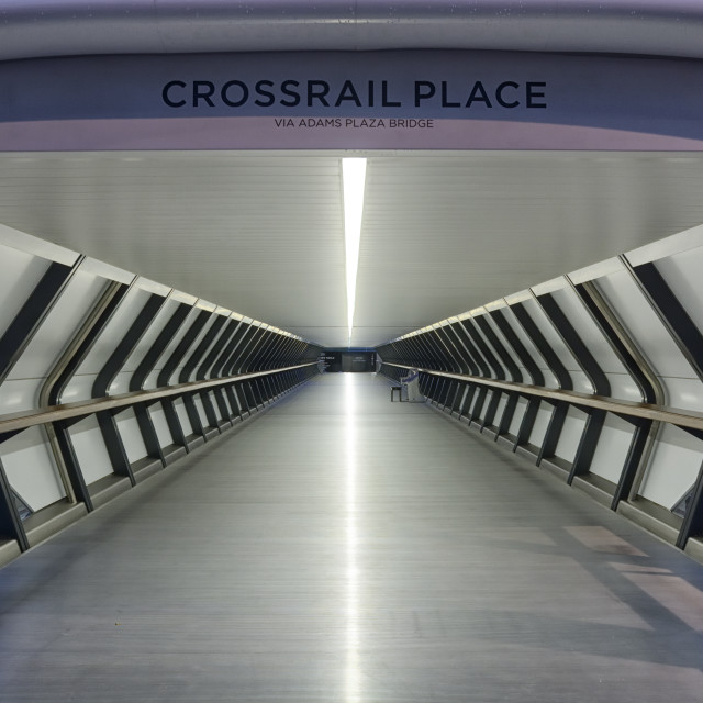 """Crossrail Place covered walkway"" stock image"
