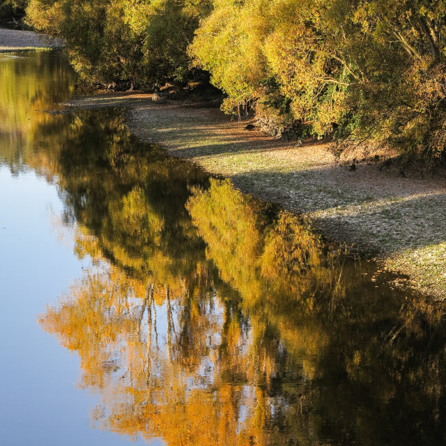"""Riverbank reflections"" stock image"