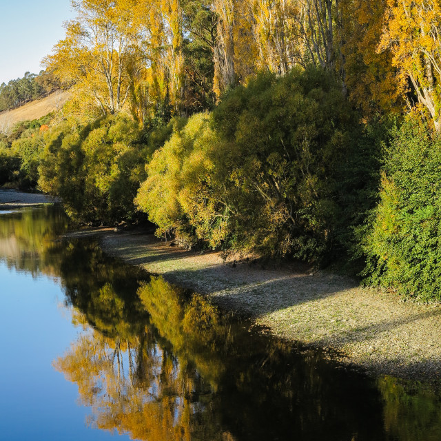 """Riverbank in autumn"" stock image"