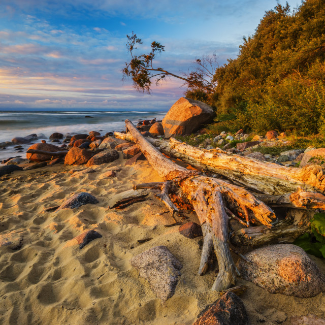 """""""Sea landscape at sunset, sandy beach and cliff"""" stock image"""