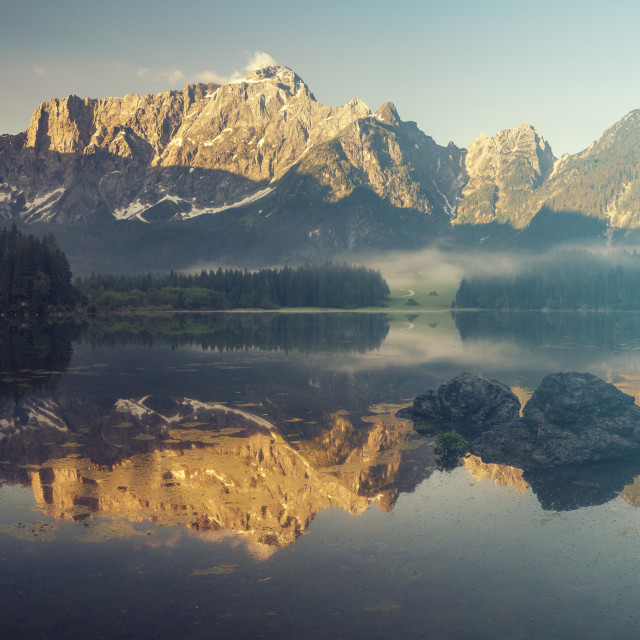 """Lake in the Julian Alps,Italy"" stock image"