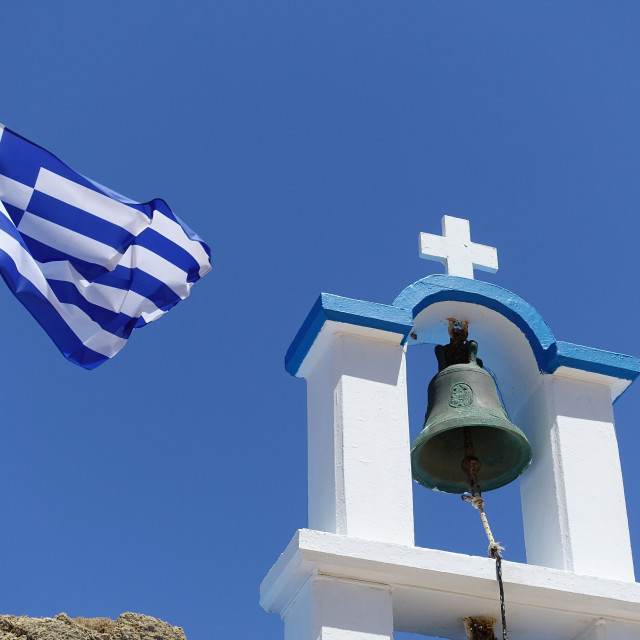 """Greek Church bell and flag"" stock image"