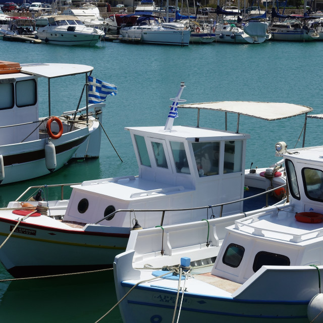 """Greek fishing boats"" stock image"
