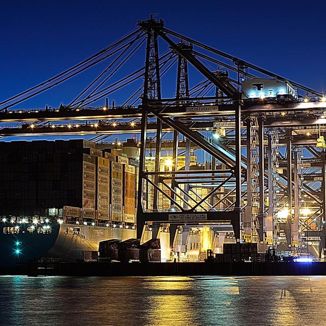 """The Port of Felixstowe at night"" stock image"
