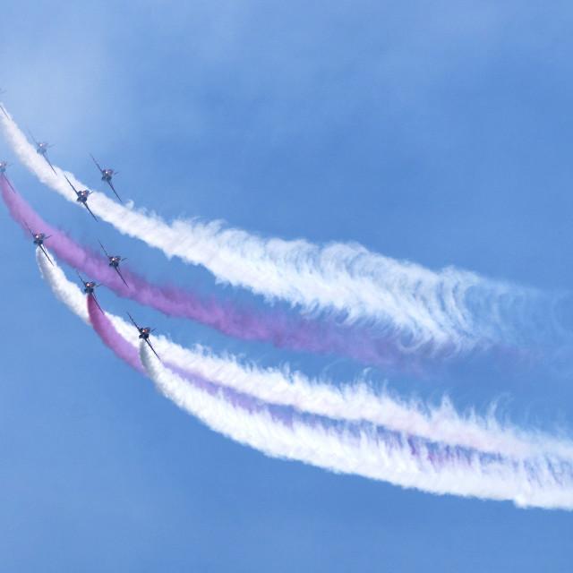 """RAF Red Arrows 'smoke on'"" stock image"