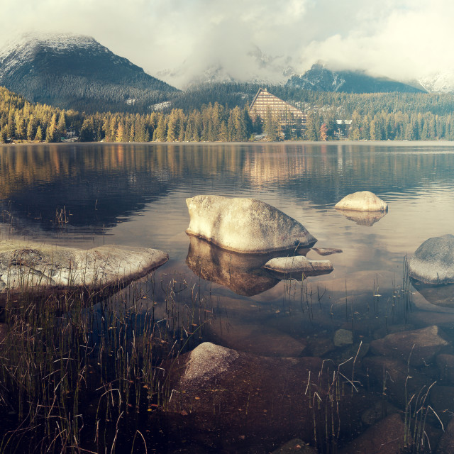 """beautiful autumn morning over a mountain lake Strbske Pleso,Tatra mountains,Slovakia.Toned with a retro vintage effect"" stock image"