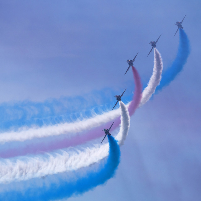"""RAF Red Arrows 'shadows in the smoke'"" stock image"