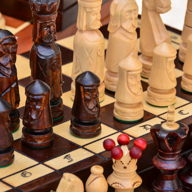 """""""Chess board and pieces made from wood"""" stock image"""