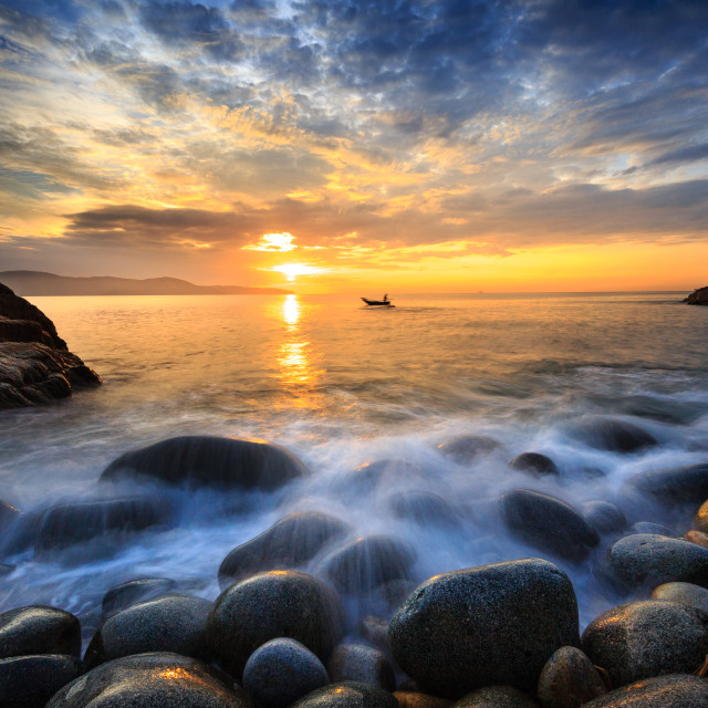 """Long exposure of sea and big pebble"" stock image"