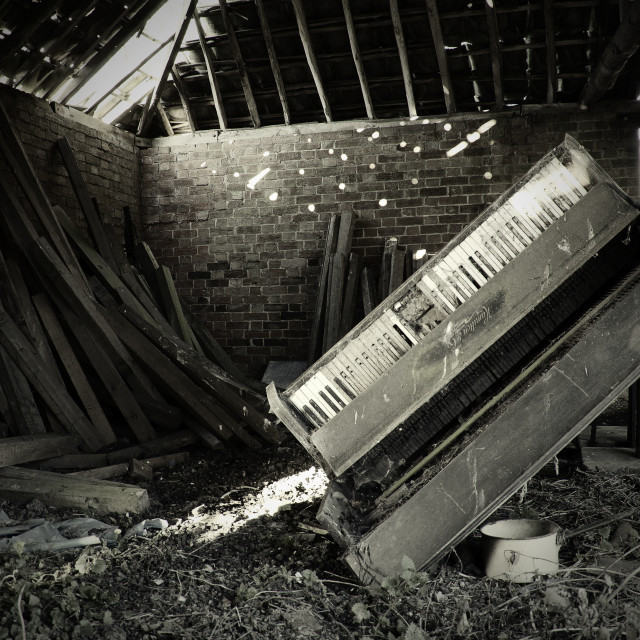 """Old Abandoned Farm Building with a Piano"" stock image"