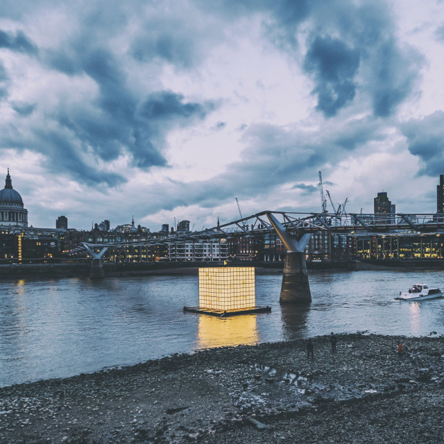 """Floating Dreams Lights Up The Thames"" stock image"