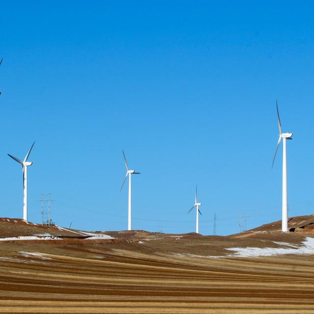 """many wind power generator on grass hills"" stock image"