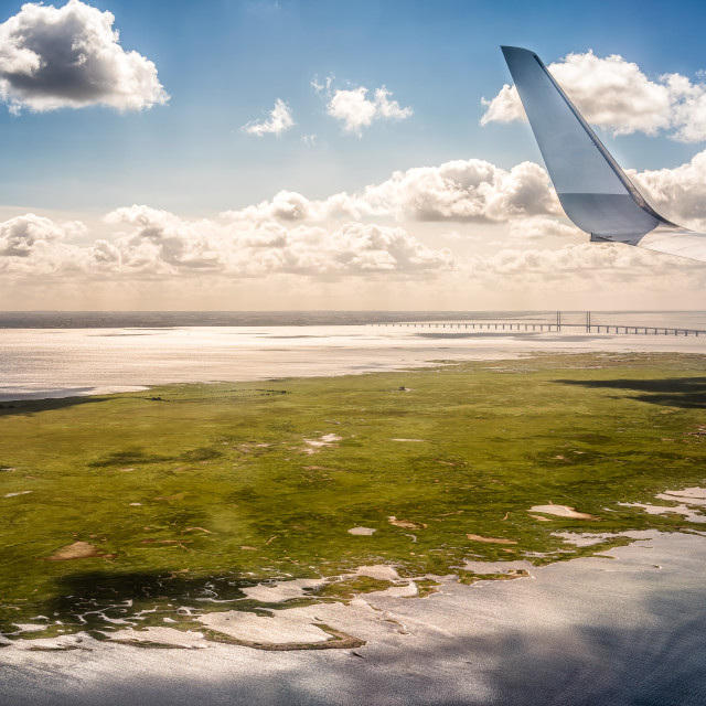 """Fying over Denmark"" stock image"