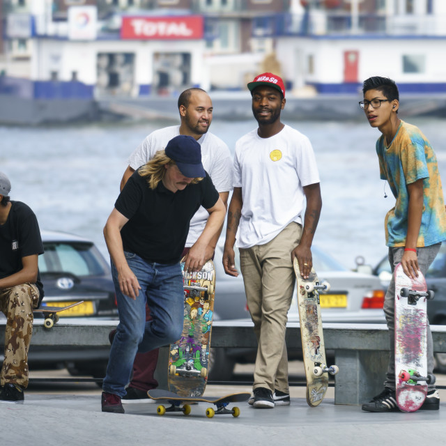 """Skateboarders hanging out"" stock image"