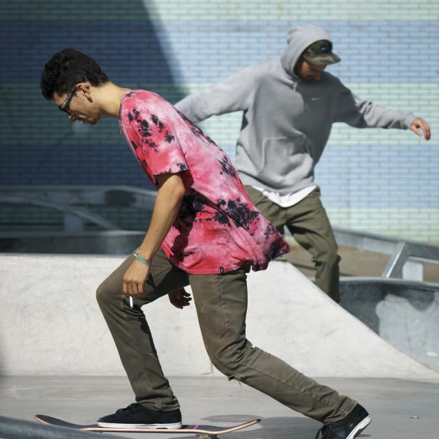 """Two dancing skaters"" stock image"