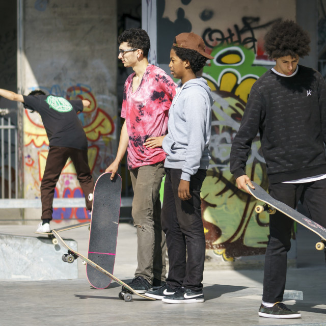 """""""Goup of young kateboarders"""" stock image"""