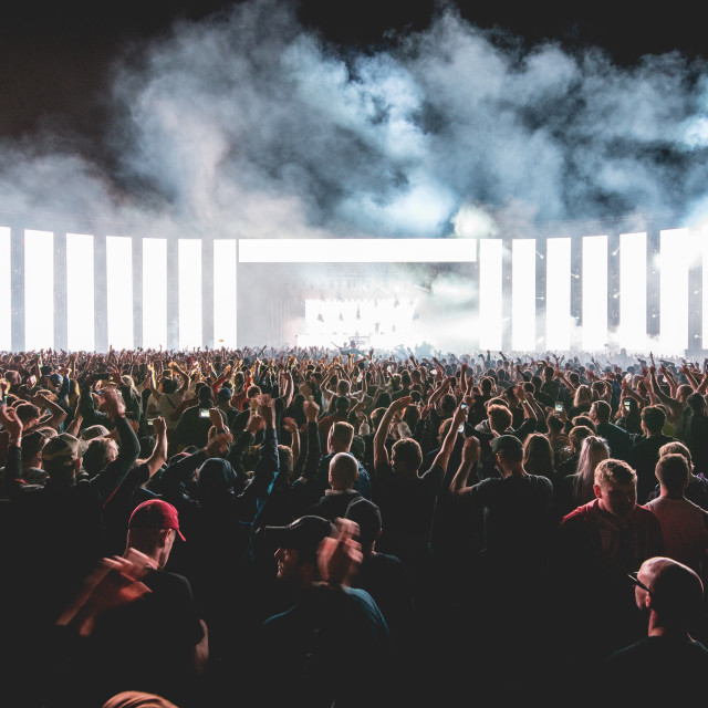 """""""A wall of light, Festival Crowd"""" stock image"""