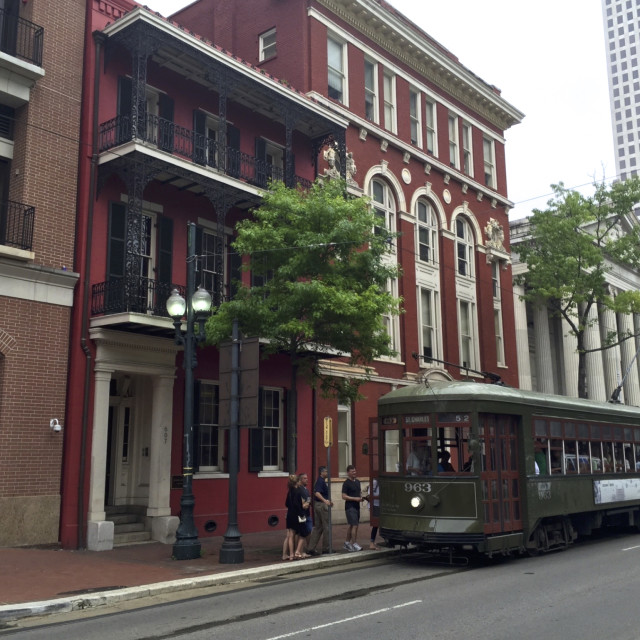 """New Orleans Tram in the city centre, USA."" stock image"