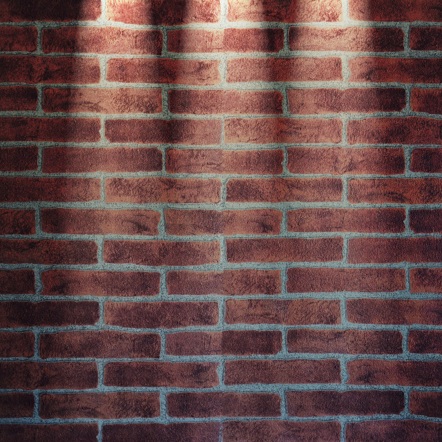 """Red brickwall illuminated with lamps. 3D rendering."" stock image"