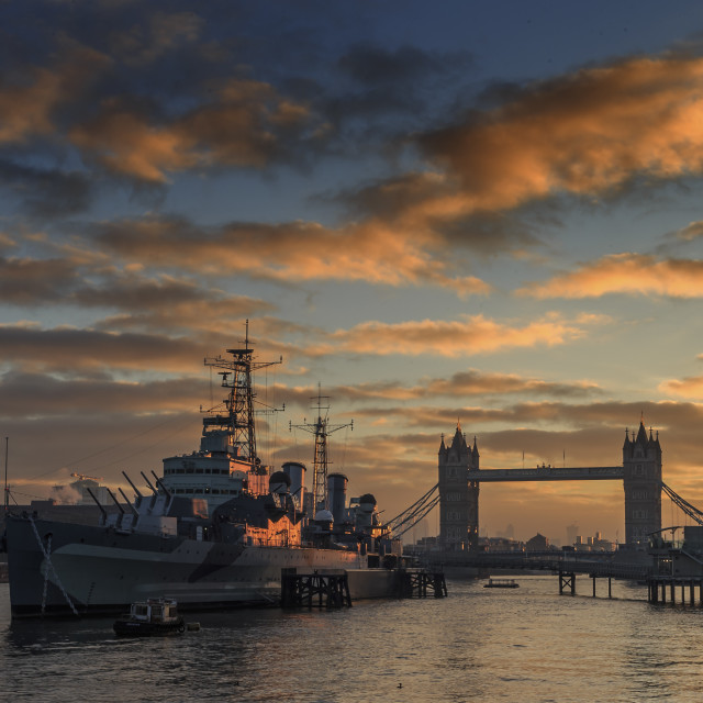 """HmS Belfast & Tower Bridge"" stock image"