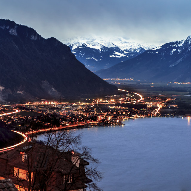 """Light Trails Through Montreux"" stock image"