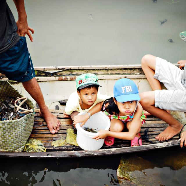 """""""Children on boat"""" stock image"""